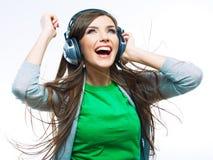 Baile de la muchacha del adolescente de la música contra el fondo blanco Imagenes de archivo