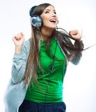 Baile de la muchacha del adolescente de la música contra blanco Fondo aislado Imagen de archivo