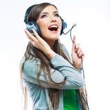 Baile de la muchacha del adolescente de la música contra fondo blanco aislado Imágenes de archivo libres de regalías