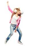 Baile de la muchacha del bailarín del hip-hop aislado en el fondo blanco Imagen de archivo libre de regalías