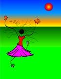 Baile de la muchacha en Sun ilustración del vector
