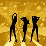Baile de la muchacha en un fondo retro stock de ilustración