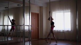 Baile de la muchacha en un polo, un bailarín, una aptitud y un deporte Danza de poste almacen de metraje de vídeo