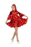 Baile de la muchacha en un vestido rojo del lunar Foto de archivo libre de regalías