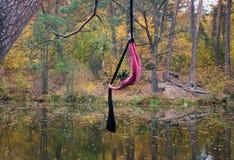 Baile de la mujer con la seda aérea en un fondo de los árboles Imagenes de archivo