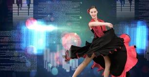 Baile de la mujer del flamenco con el interfaz de la tecnología digital Imagen de archivo libre de regalías