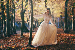 Baile de la mujer en bosque del otoño Fotos de archivo