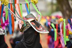 Baile de la phi-Khon-Nam del festival de la ceremonia de la lluvia de Tailandia Fotografía de archivo