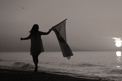 Baile de la señora con una bandera Fotografía de archivo libre de regalías