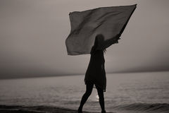 Baile de la señora con una bandera Imagen de archivo