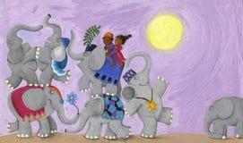 Baile de los elefantes y de los niños Fotografía de archivo libre de regalías