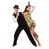 Baile de los pares del bailarín del cabaret Aislado en el fondo blanco en integral Imagen de archivo