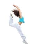 Baile de salto de hip-hop del adolescente delgado del estilo Fotografía de archivo