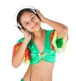 Baile del adolescente con los auriculares Imagenes de archivo