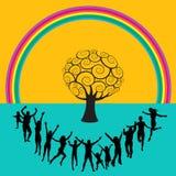 Baile del arco iris y de la gente Imagen de archivo libre de regalías