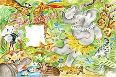 Baile del elefante en selva ilustración del vector