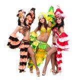 Baile del equipo del bailarín de la samba aislado en blanco en integral Imagenes de archivo