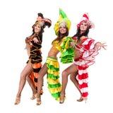 Baile del equipo del bailarín de la samba aislado en blanco en integral Fotografía de archivo