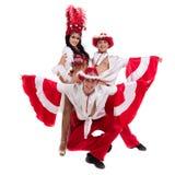 Baile del equipo del bailarín de la samba aislado en el fondo blanco Fotos de archivo