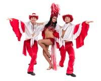 Baile del equipo del bailarín de la samba aislado en el fondo blanco Fotos de archivo libres de regalías