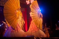 Baile del fan en Año Nuevo chino. Fotografía de archivo