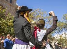 Baile del hombre y de la mujer en Valencia, España Foto de archivo