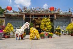 Baile del león para celebrar Año Nuevo lunar Imagen de archivo libre de regalías