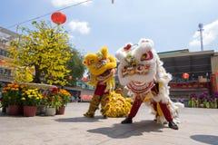 Baile del león para celebrar Año Nuevo lunar Imagenes de archivo