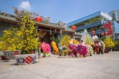 Baile del león para celebrar Año Nuevo lunar Fotos de archivo libres de regalías