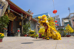 Baile del león para celebrar Año Nuevo lunar Imagen de archivo