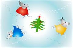Baile del ratón alrededor del árbol de navidad 2008 Imagen de archivo libre de regalías