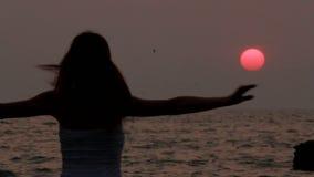 Baile despreocupado de la mujer en la puesta del sol almacen de video