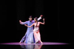 Baile en el acto del claro de luna- en segundo lugar de los eventos del drama-Shawan de la danza del pasado Imagen de archivo