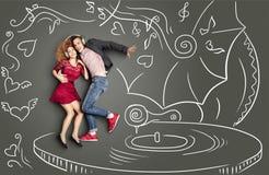 Baile en el vinilo ilustración del vector