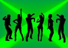 Baile en un fondo verde ilustración del vector