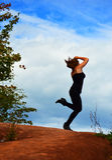 Baile feliz de la mujer Fotografía de archivo