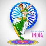Baile femenino del bailarín en el fondo indio que muestra la cultura colorida de la India ilustración del vector