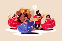 Baile gitano del conjunto y el jugar en los instrumentos ilustración del vector
