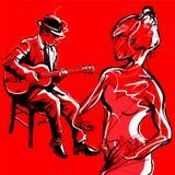 Baile gitano del jugador y de la mujer del jazz de la guitarra stock de ilustración