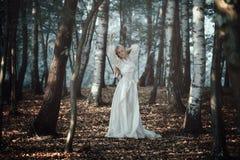 Baile hermoso de la mujer en bosque etéreo foto de archivo