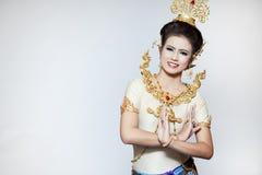 Baile hermoso de la señora para la danza tailandesa original Foto de archivo libre de regalías