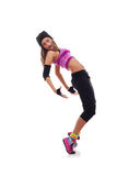 Baile hip-hop de la muchacha que se inclina encendido detrás Fotografía de archivo