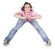 Baile hip-hop del adolescente sobre blanco Foto de archivo libre de regalías