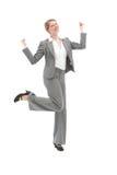 Baile jubiloso de la mujer foto de archivo libre de regalías