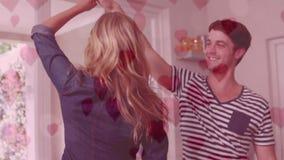 Baile lindo de los pares en la sala de estar con el vuelo de los corazones ilustración del vector