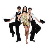 Baile pasado de moda de los bailarines Fotografía de archivo