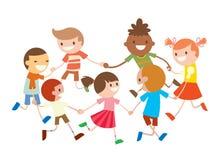 Baile redondo de los niños Danza del partido en club del bebé stock de ilustración