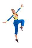 Baile sonriente del instructor del zumba Foto de archivo libre de regalías