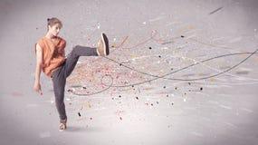 Baile urbano con las líneas y la salpicadura imagen de archivo