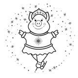Baile virginal de la nieve del cerdo en el símbolo 2019 de los patines imagen de archivo